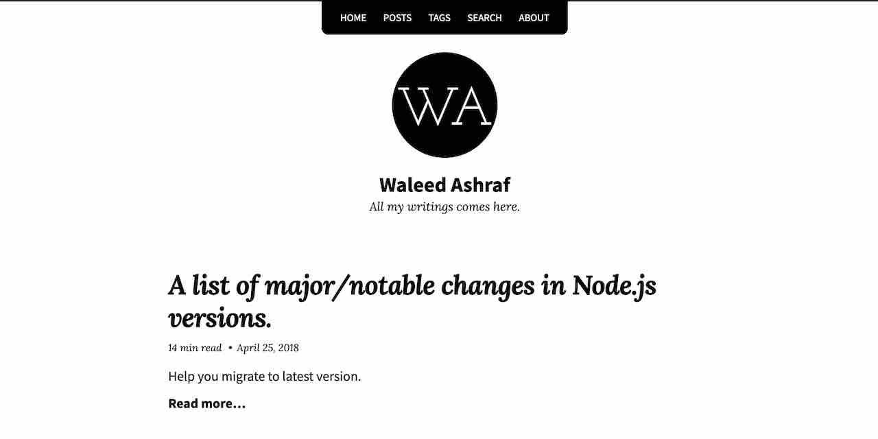 A list of major/notable changes in Node js versions  | Waleed Ashraf